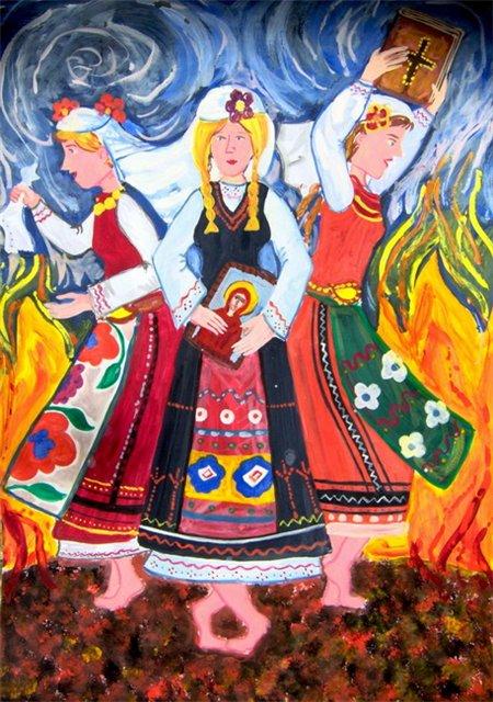 НЕСТИНАРИ, Рисунка на Мария Жекова. 15 г. , България, Горна Оряховица